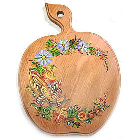 """Дошка обробна """"Яблуко"""", розписано вручну, бук (30 х 22 х 1,5 див.)"""