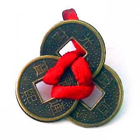 Монети (3 шт)(1,5 см) у гаманець темні червона стрічка (100 шт/уп)