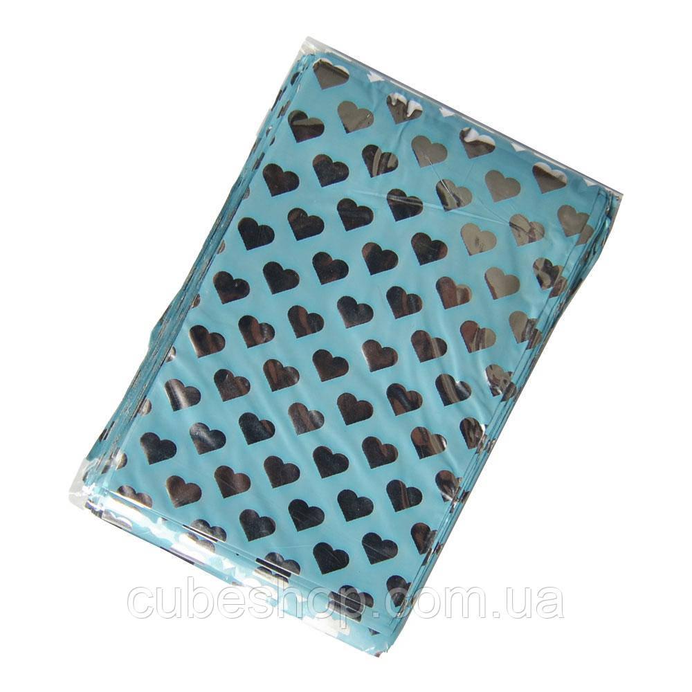 """Фольгированный пакетик  """"Голубой с сердцами"""" 7х9 см (100 шт)"""