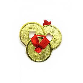 Монети (3шт)(2.5 см) в гаманець золоті червона стрічка (100 шт/уп)