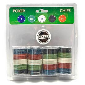 Покерні фішки в блістері (100 фішок)(19х20х4 см)(вага фішки 4 гр. d-39 мм)