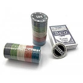 Покерний набір в блістері (колода карт,60 фішок)(24,5х12х4,5 см)(вага фішки 4 гр. d-39 мм)