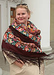 Фініфть 341-16, павлопосадский хустку (шаль) з ущільненої вовни з шовковою бахромою в'язаної, фото 4