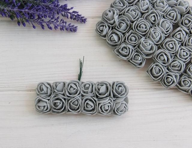 Розы 2,0 см , серые       144 шт