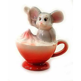 Мишка в чашці з вершками порцеляновий(8х7х6 см)