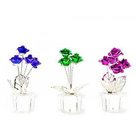 Троянди в кришталевому горщику (7х3х3 см)