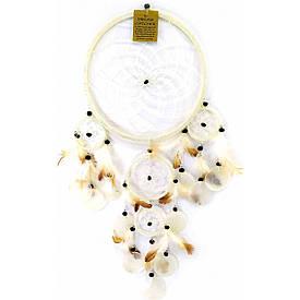 Ловец снов со ракушками белый  (d-22 см h-60 см)