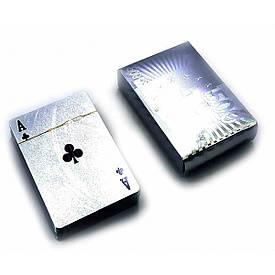 """Карти гральні пластикові """"500 euro"""" срібло (9х6х2 см)"""