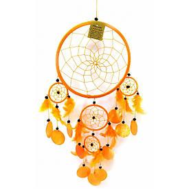 Ловец снов со ракушками оранжевый  (d-22 см h-60 см)