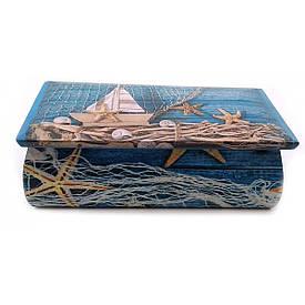 """Шкатулка """"Морська"""" масив дерева (21,5х11,5х7 см)"""