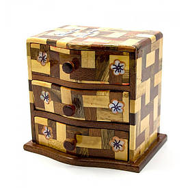 Скринька 3 відділення (10,5х11,5х9 см)(В'єтнам)