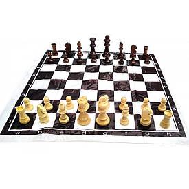 Шахи дорожні у блістері з м'якою дошкою дерев'яні (h фігур 4-8.5 см ,d-2.5-3.5 см)