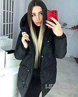Женская зимняя теплая куртка зефирка плащевка на синтепоне черный 48 50