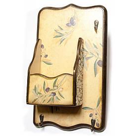 """Ключниця вішалка """"Оливка"""", з ящиком, масив дерева (34х20 див.)"""