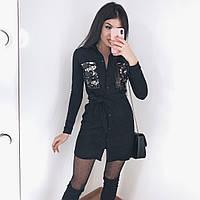 Женское весеннее платье замша на дайвинге черный бордо 42-44 44-46