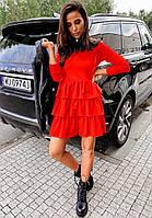 Женское весеннее платье креп-дайвинг черный красный беж 42-44 44-46