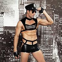 """Чоловічий еротичний костюм поліцейського """"Капітан Суворий"""" кашкет, труси, топ, рукавички, окуляри, наруч"""