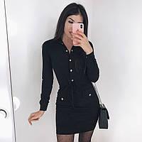 Женское платье замша на дайвинге черный 42-44 44-46