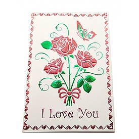 """Листівка 3D Букет """"I Love You!"""" з конвертом (19х13 см)"""
