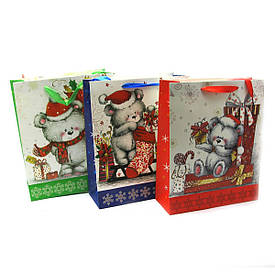 """Пакет подарунковий """"Ведмедики""""картон (12 шт/уп)(32х26 см)"""