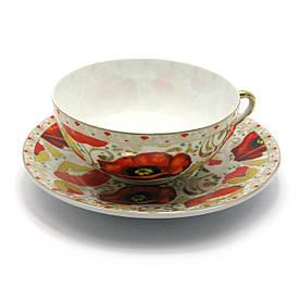 """Чашка+блюдце фарфор (150мл)(SBS1043) """"Маки"""" (h-4,5 см,d-9,5 см d блюдця-13см)"""