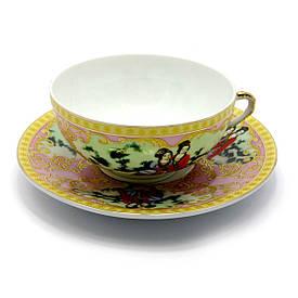 """Чашка+блюдце фарфор (150мл)(SBS108-8) """"Рожевий"""" (h-4,5 см,d-9,5 см d блюдця-13см)"""