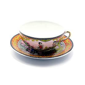 "Чашка+блюдце фарфор (150мл)(SBS112-4) ""Золотий"" (h-4,5 см,d-9,5 см d блюдця-13см)"