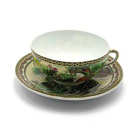 """Чашка+блюдце фарфор (150мл)(SBS127) """"Китаянка зелений"""" (h-4,5 см,d-9,5 см d блюдця-13см)"""