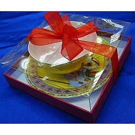 """Чашка+блюдце фарфор (150мл)(SBS141-4) """"Жовтий"""" (h-4,5 см,d-9,5 см d блюдця-13см)"""