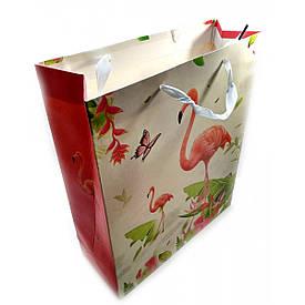 """Пакет подарунковий картонний """"Фламінго і Єдинороги"""" (18х23х8 см)"""