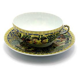 """Чашка+блюдце фарфор (150мл)(SBS86-5) """"Зелена верба"""" (h-4,5 см,d-9,5 см d блюдця-13см)"""
