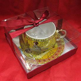 """Чашка+блюдце фарфор (210 мл)(ACS141-4) """"Жовтий"""" (h-6см, d-чашки - 8см, d-блюдця - 14см)"""