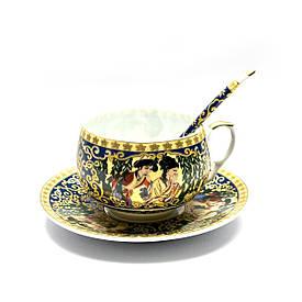 """Чашка+блюдце фарфор (210 мл)(ACS86) """"Зелена верба"""" (h-6см, d-чашки - 8см, d-блюдця - 14см)"""