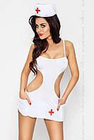 Костюм медсестри AKKIE SET white XXL/XXXL - Passion, сорочка, трусики, шапочка