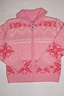 Кофта теплая на девочку Орнамент розовая 10-14 лет