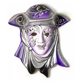 "Маска керамічна ""Венеція"" фіолетова (12,5х11х5 см)(уп/6 шт)A"