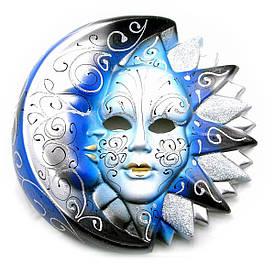 """Маска керамічна """"Місяць і Сонце"""" (d-22,5 см)"""