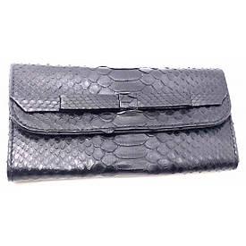 Гаманець зі шкіри пітона чорний лак (20х10х2см)