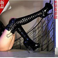 Модные сапоги ботфорты на шнуровке с лентой, высокий каблук 15 см