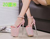 22 см, модель Hengtian Gao, женская обувь на очень высоком каблуке, роскошные золотые женские банкетные сандалии в Европе и Америке, одинарная обувь