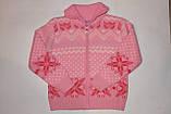Кофта теплая на девочку Орнамент розовая 10-14 лет, фото 2