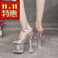 Туфли с кристаллами прозрачная водонепроницаемая платформа 18/20 см hate sky high сандалии на сверхвысоком каблуке и тапочки супер стабильная обувь на