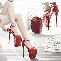 Сандалии на очень высоком каблуке 19 см, модель подиума, пикантные туфли на шпильке для дня ненависти, обувь на шпильке для танцев на шесте, 20 см
