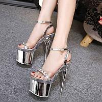 2018 летние новые пикантные сандалии на высоком каблуке 18 см на очень высоком каблуке для ночного клуба водонепроницаемая женская обувь на тонком