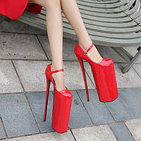 Стальной каблук, очень высокие каблуки, водонепроницаемая платформа, 30 см, hate sky, высокие шпильки, сексуальная сетка, красные, женские, большие