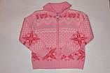 Кофта теплая на девочку Орнамент розовая 10-14 лет, фото 3