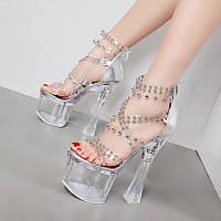 Сексуальные прозрачные босоножки на каблуке с кристаллами 18 см, модель на очень высоком каблуке для ночного клуба, женская обувь на толстом каблуке,