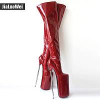2019 новые европейские и американские сексуальные сапоги выше колена на высоком металлическом высоком каблуке 30 см / см на высоком металлическом