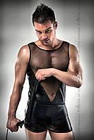 Комплект білизни Passion 016 SET black S/M, шортики під латекс і напівпрозора маєчка