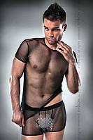 Комплект білизни Passion 017 SET black S/M, повністю прозора футболочка і такі ж шортики
